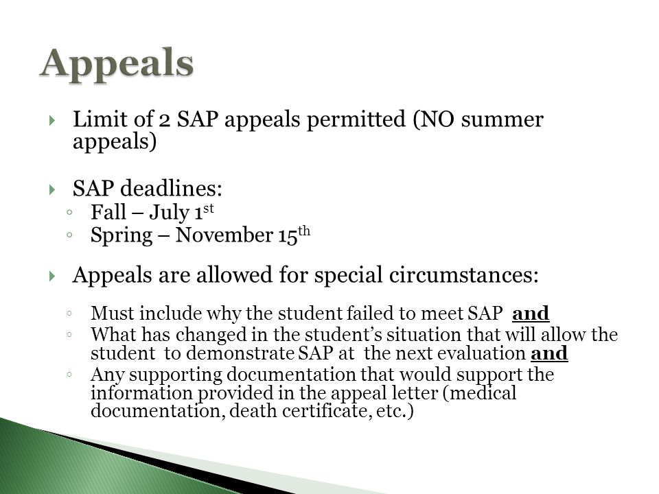 financial aid appeal Re-establishing your academic financial aid eligibility aid appeal packet will be reviewed by the financial aid appeals committee and that the decision of the.