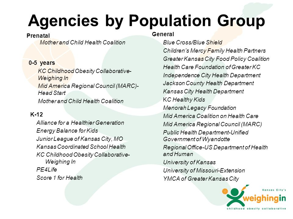 Agencies by Population Group Prenatal Mother and Child Health Coalition 0-5 years KC Childhood Obesity Collaborative- Weighing In Mid America Regional Council (MARC)- Head Start Mother and Child Health Coalition K-12 Alliance for a Healthier Generation Energy Balance for Kids Junior League of Kansas City, MO Kansas Coordinated School Health KC Childhood Obesity Collaborative- Weighing In PE4Life Score 1 for Health General Blue Cross/Blue Shield Children's Mercy Family Health Partners Greater Kansas City Food Policy Coalition Health Care Foundation of Greater KC Independence City Health Department Jackson County Health Department Kansas City Health Department KC Healthy Kids Menorah Legacy Foundation Mid America Coalition on Health Care Mid America Regional Council (MARC) Public Health Department-Unified Government of Wyandotte Regional Office-US Department of Health and Human University of Kansas University of Missouri-Extension YMCA of Greater Kansas City