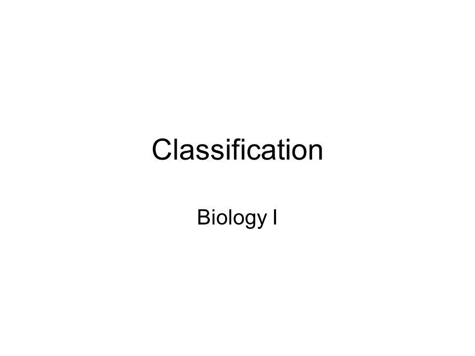 Classification Biology I