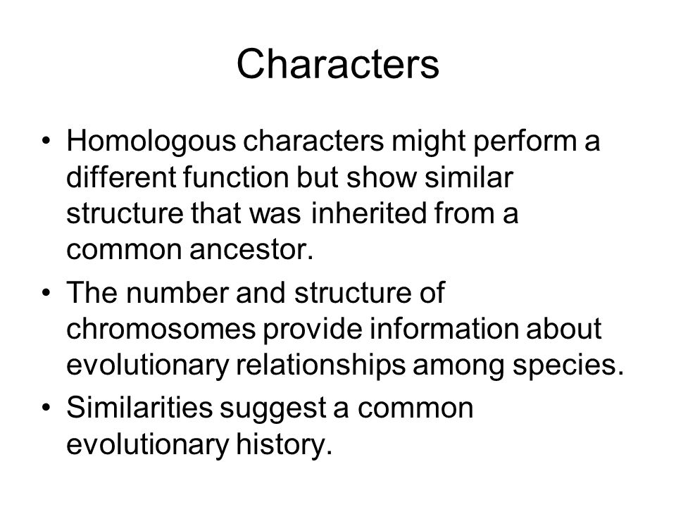 Characters Homologous characters might perform a different function but show similar structure that was inherited from a common ancestor.