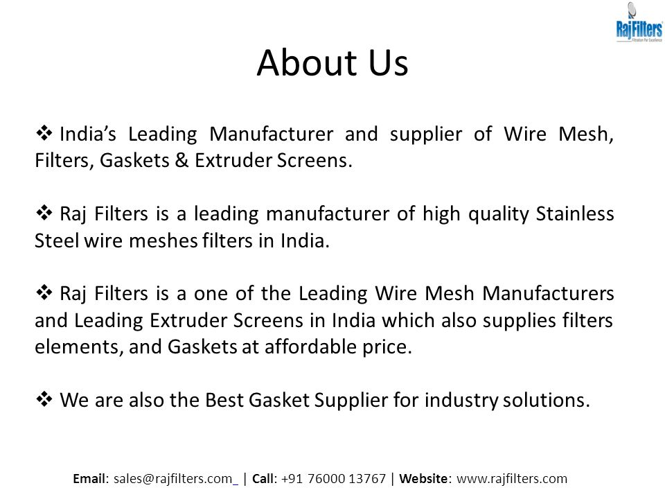 Wire Mesh and Extruder Screens Manufacturers in India By Raj ...