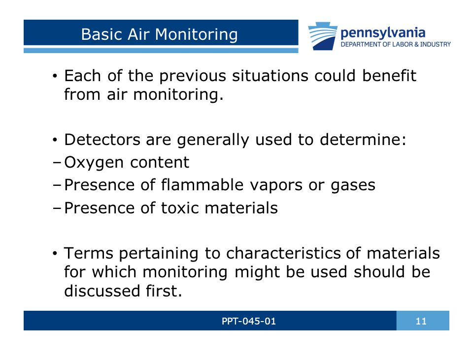Basic Air Monitoring PPT-045-01 11 Each of the previous situations could benefit from air monitoring.