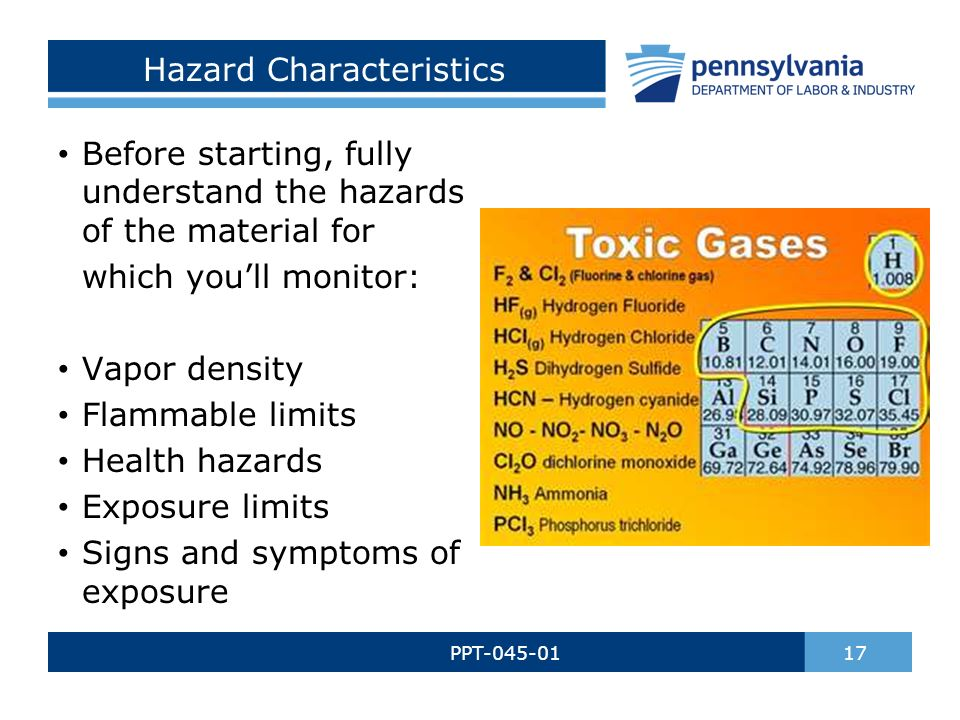 Hazard Characteristics PPT-045-01 17 Before starting, fully understand the hazards of the material for which you'll monitor: Vapor density Flammable limits Health hazards Exposure limits Signs and symptoms of exposure