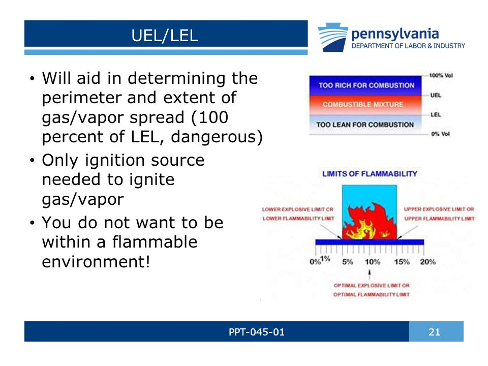UEL/LEL PPT-045-01 21 Will aid in determining the perimeter and extent of gas/vapor spread (100 percent of LEL, dangerous) Only ignition source needed to ignite gas/vapor You do not want to be within a flammable environment!