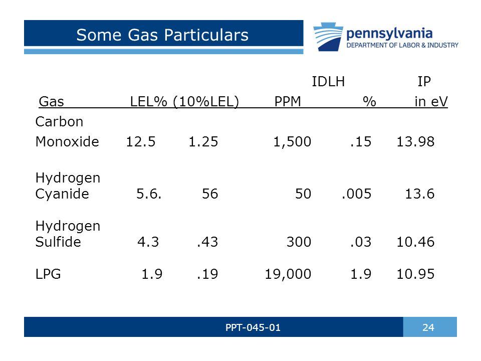 Some Gas Particulars PPT-045-01 24 IDLH IP Gas LEL% (10%LEL) PPM % in eV Carbon Monoxide12.51.251,500.1513.98 Hydrogen Cyanide 5.6.5650.00513.6 Hydrogen Sulfide 4.3.43300.0310.46 LPG 1.9.1919,0001.910.95