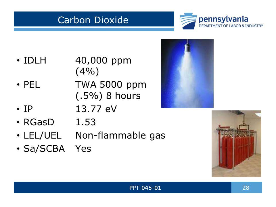 Carbon Dioxide PPT-045-01 28 IDLH40,000 ppm (4%) PELTWA 5000 ppm (.5%) 8 hours IP13.77 eV RGasD1.53 LEL/UELNon-flammable gas Sa/SCBAYes