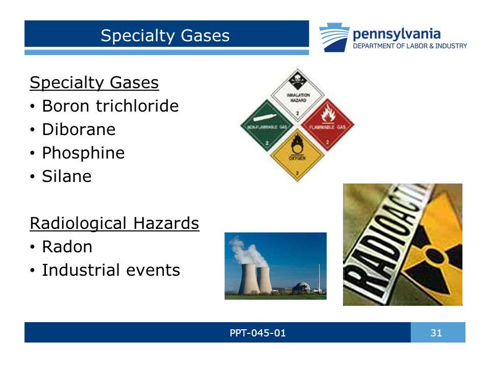 Specialty Gases PPT-045-01 31 Specialty Gases Boron trichloride Diborane Phosphine Silane Radiological Hazards Radon Industrial events