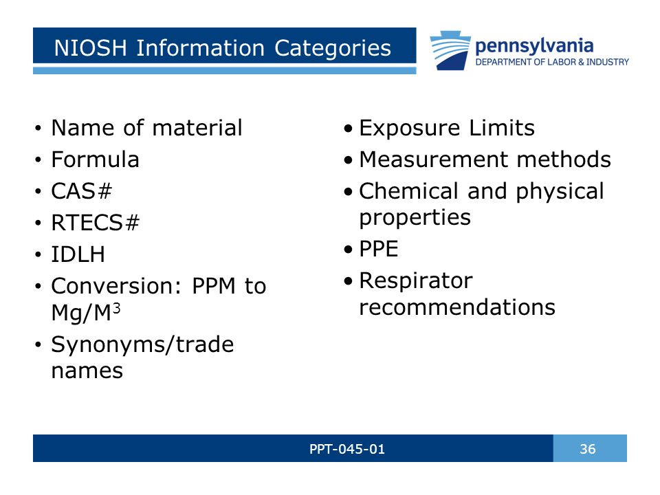 NIOSH Information Categories PPT-045-01 36 Name of material Formula CAS# RTECS# IDLH Conversion: PPM to Mg/M 3 Synonyms/trade names Exposure Limits Measurement methods Chemical and physical properties PPE Respirator recommendations