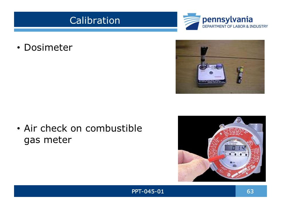 Calibration PPT-045-01 63 Dosimeter Air check on combustible gas meter