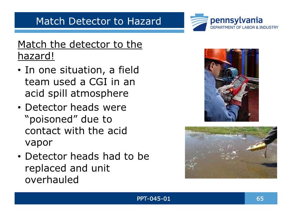 Match Detector to Hazard PPT-045-01 65 Match the detector to the hazard.
