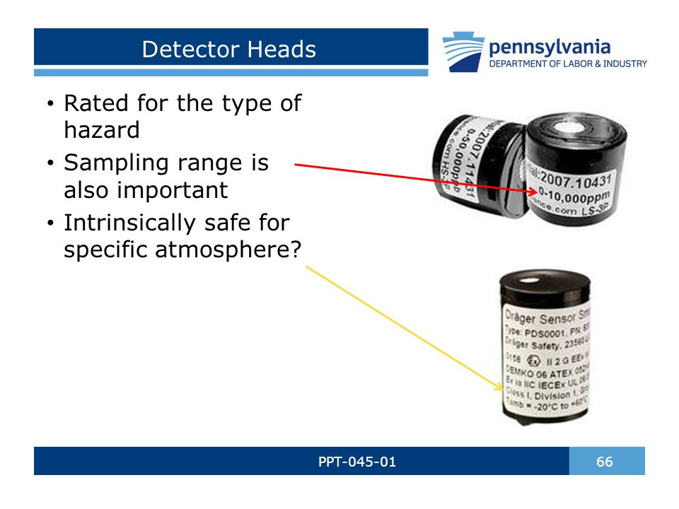 Detector Heads PPT-045-01 66 Rated for the type of hazard Sampling range is also important Intrinsically safe for specific atmosphere