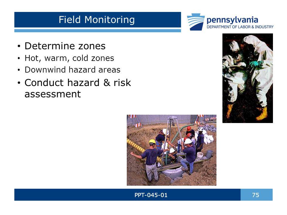 Field Monitoring PPT-045-01 75 Determine zones Hot, warm, cold zones Downwind hazard areas Conduct hazard & risk assessment