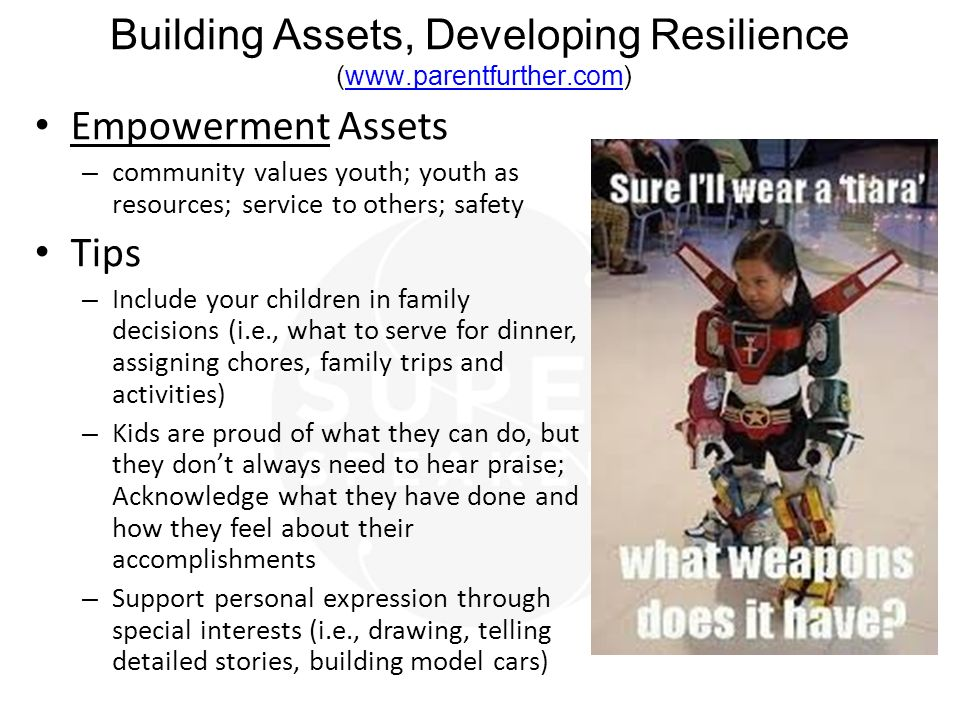 Building Assets, Developing Resilience (www.parentfurther.com)www.parentfurther.com Empowerment Assets – community values youth; youth as resources; service to others; safety Tips – Include your children in family decisions (i.e., what to serve for dinner, assigning chores, family trips and activities) – Kids are proud of what they can do, but they don't always need to hear praise; Acknowledge what they have done and how they feel about their accomplishments – Support personal expression through special interests (i.e., drawing, telling detailed stories, building model cars)