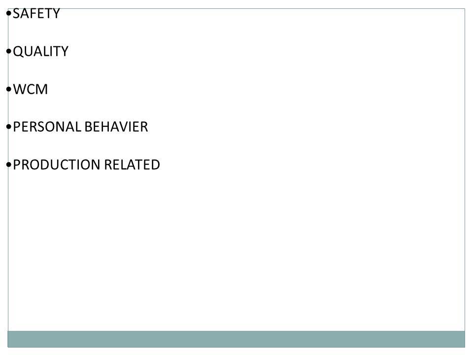 SAFETY QUALITY WCM PERSONAL BEHAVIER PRODUCTION RELATED