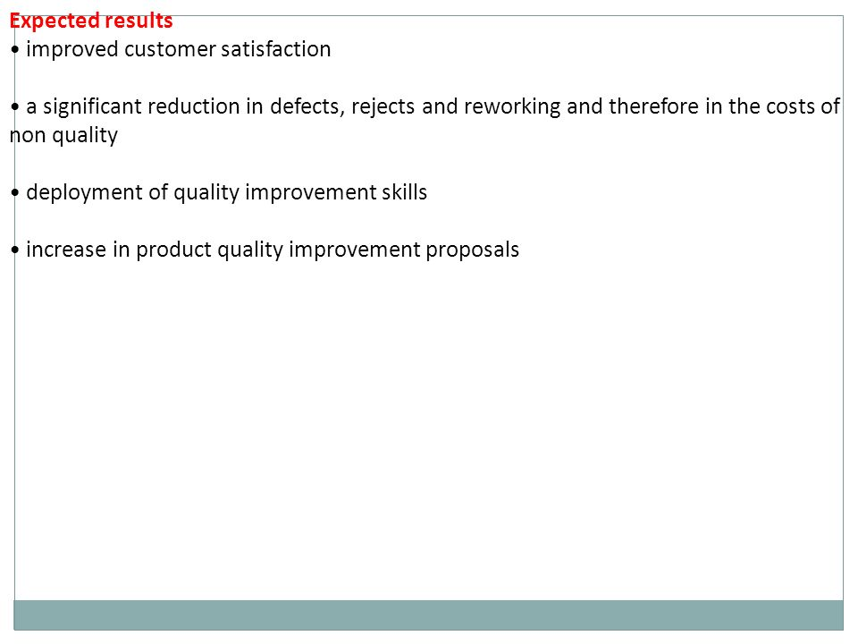 Expected results improved customer satisfaction a significant reduction in defects, rejects and reworking and therefore in the costs of non quality deployment of quality improvement skills increase in product quality improvement proposals