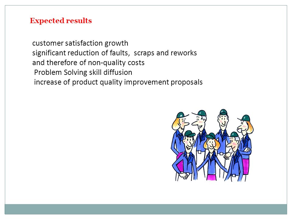 Expected results customer satisfaction growth significant reduction of faults, scraps and reworks and therefore of non-quality costs Problem Solving skill diffusion increase of product quality improvement proposals