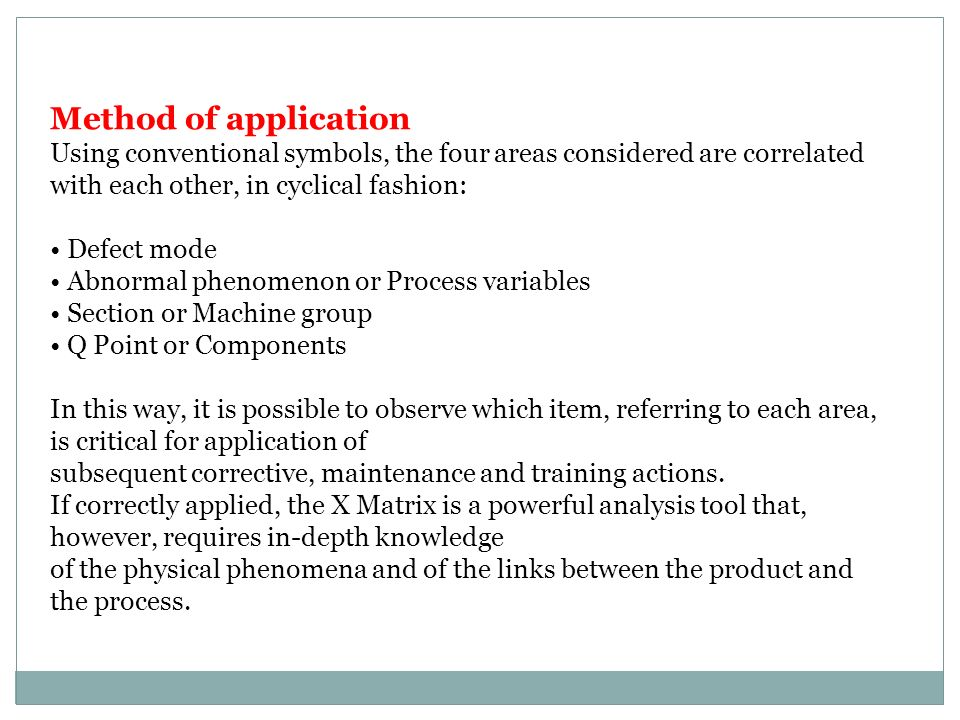 Method of application Using conventional symbols, the four areas considered are correlated with each other, in cyclical fashion: Defect mode Abnormal phenomenon or Process variables Section or Machine group Q Point or Components In this way, it is possible to observe which item, referring to each area, is critical for application of subsequent corrective, maintenance and training actions.