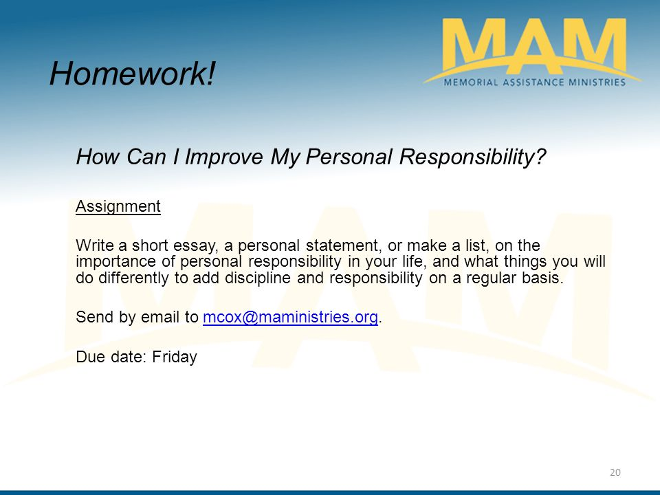 employment certification program personal responsibility workshop  how can i improve my personal responsibility