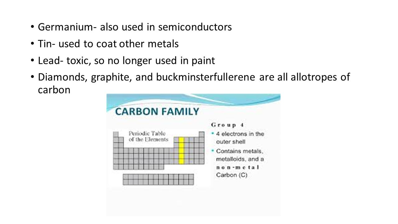 Elements and their properties chapter 19 the periodic table tin used to coat other metals lead toxic so no longer used in paint diamonds graphite and buckminsterfullerene are all allotropes of carbon gamestrikefo Choice Image