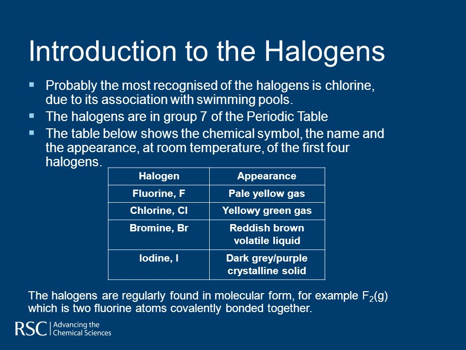 introduction to the halogens probably the most recognised of the halogens is chlorine due - Periodic Table Halogen Symbol