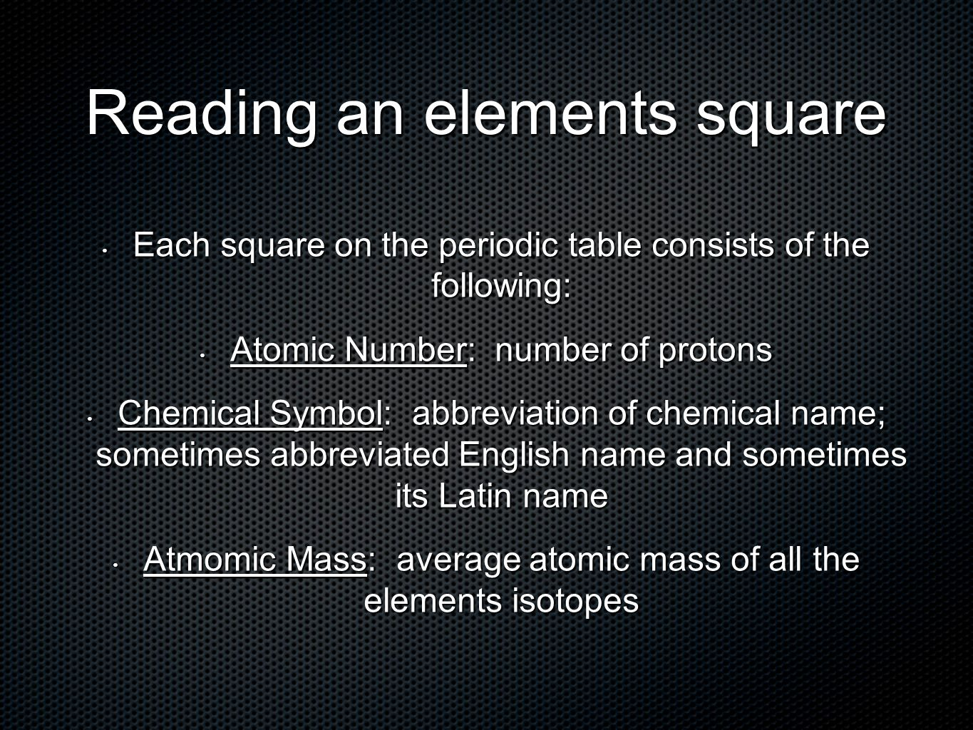 Elements and the periodic table introduction to atoms ppt download 25 reading urtaz Image collections