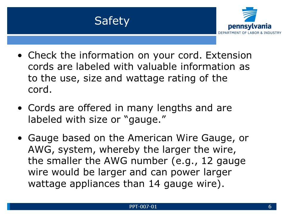EXTENSION CORD SAFETY Bureau of Workers Comp PA Training for ...