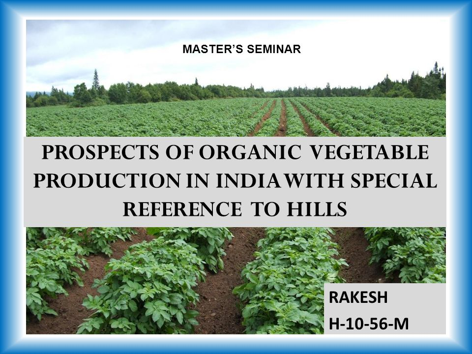 PROSPECTS OF ORGANIC VEGETABLE PRODUCTION IN INDIA WITH SPECIAL REFERENCE TO HILLS RAKESH H M MASTER'S SEMINAR