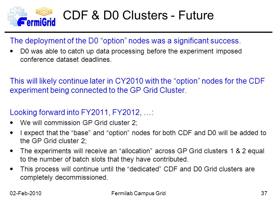 CDF & D0 Clusters - Future The deployment of the D0 option nodes was a significant success.