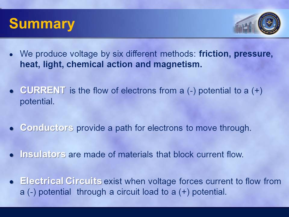 Summary ● We produce voltage by six different methods: friction, pressure, heat, light, chemical action and magnetism.