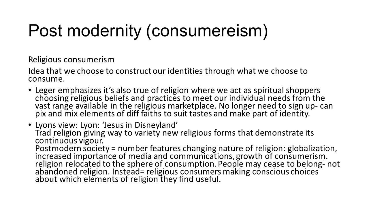 consumerism ties with religion