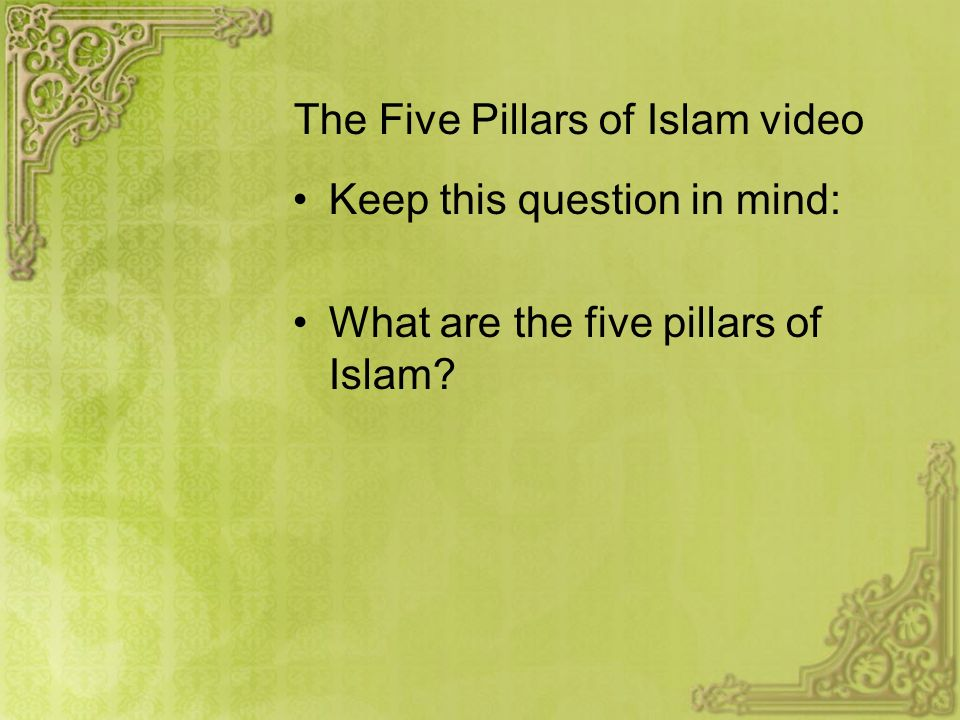 Beliefs, traditions, and customs of Islam Monotheism: Allah (Arabic word for God) Sacred book: Qur'an (Koran): The word of God Five Pillars of Islam While Muhammad is the last and greatest prophet, Muslims accept Judeo-Christian prophets, including Moses and Jesus