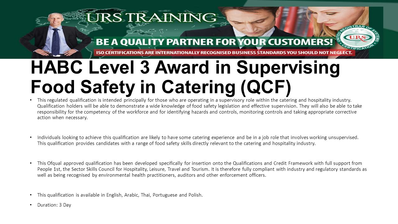 Urs egypt training catalogue iso management system highfield this regulated qualification is intended principally for those who are operating in a supervisory role within the catering and hospitality industry xflitez Choice Image