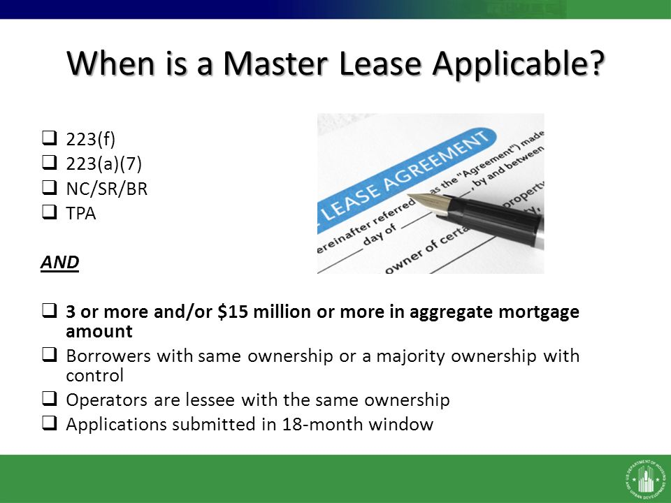 Master Leases And Portfolios Chapter  Master Lease Chapter