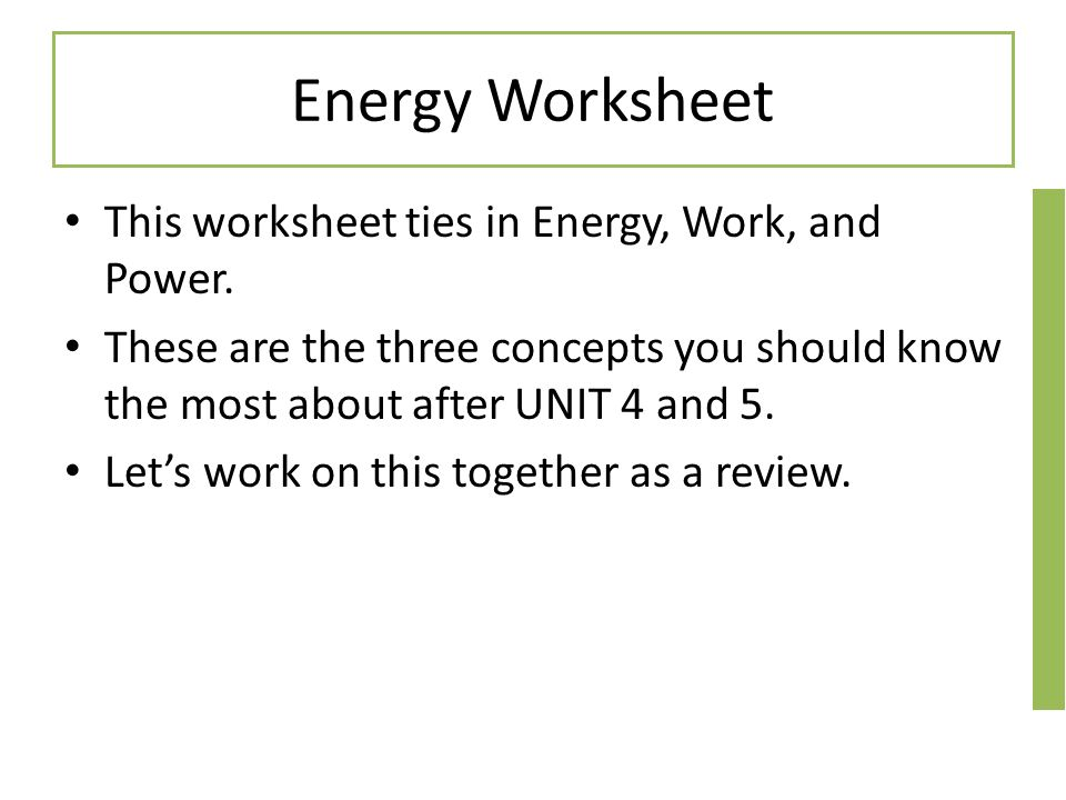 Starter Directions Copy the following examples Answer using the – Work and Power Worksheet