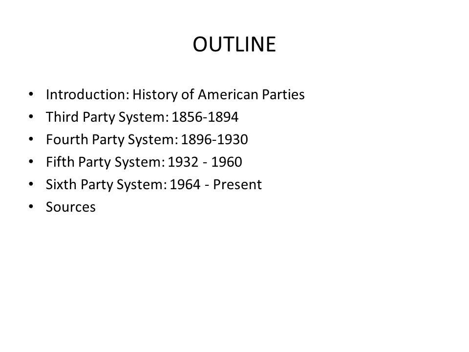history united states history since american political 2 outline introduction history of american parties third party system 1856 1894 fourth party system 1896 1930 fifth party system 1932 1960 sixth party