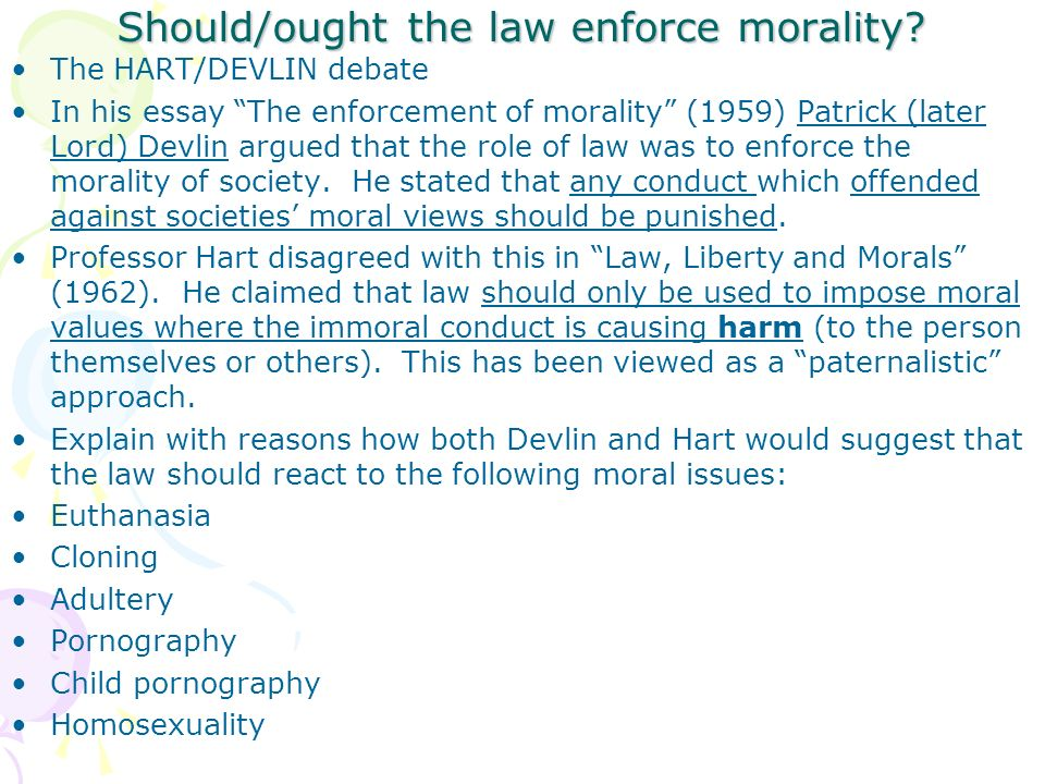 law and morals a law section c concepts of law ppt  should ought the law enforce morality
