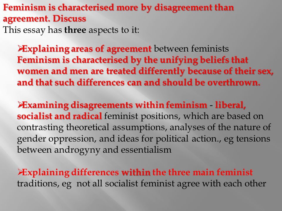 essay questions about feminism Feminism discussion student b's questions (do not show these to student a) 1) do you think feminist movements are needed in this century.