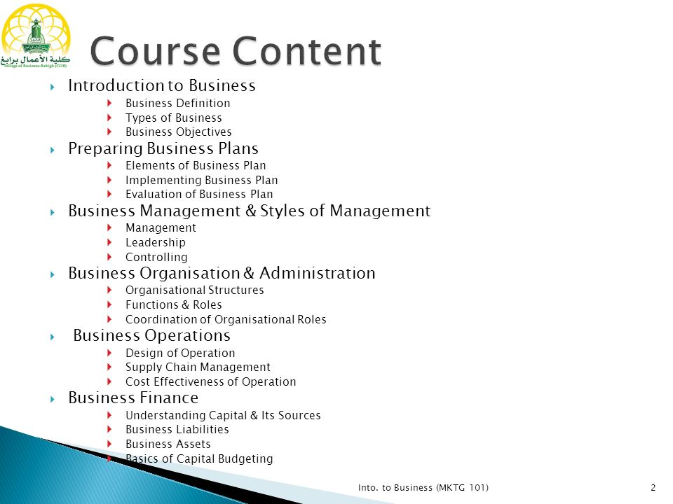 Into. To Business (Mktg 101)1.  Introduction To Business