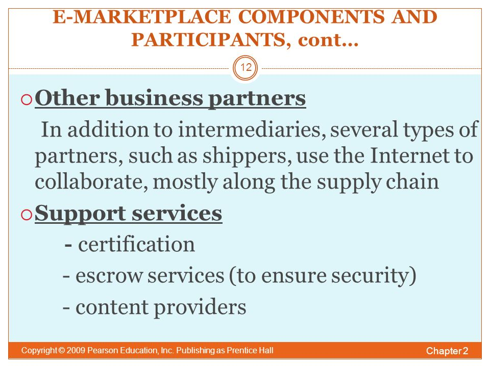 E-MARKETPLACE COMPONENTS AND PARTICIPANTS, cont… Chapter 2 Copyright © 2009 Pearson Education, Inc.