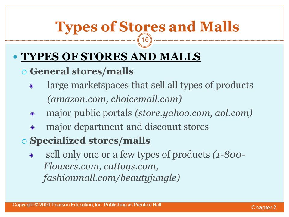 Types of Stores and Malls Chapter 2 Copyright © 2009 Pearson Education, Inc.