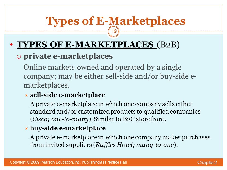 Types of E-Marketplaces Chapter 2 Copyright © 2009 Pearson Education, Inc.