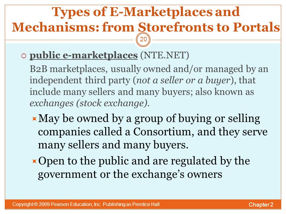 Types of E-Marketplaces and Mechanisms: from Storefronts to Portals Chapter 2 Copyright © 2009 Pearson Education, Inc.