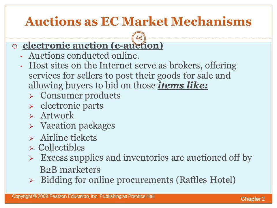 Auctions as EC Market Mechanisms  electronic auction (e-auction) Auctions conducted online.