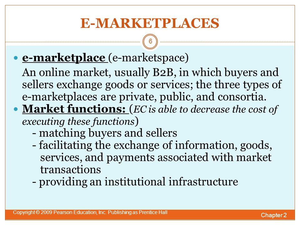 E-MARKETPLACES Chapter 2 Copyright © 2009 Pearson Education, Inc.