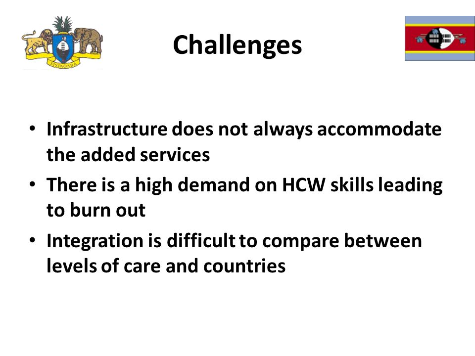 Challenges Infrastructure does not always accommodate the added services There is a high demand on HCW skills leading to burn out Integration is difficult to compare between levels of care and countries