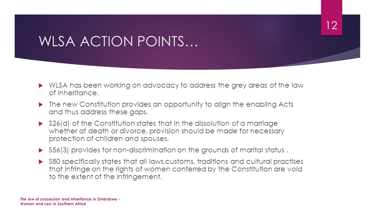 WLSA ACTION POINTS…  WLSA has been working on advocacy to address the grey areas of the law of inheritance.