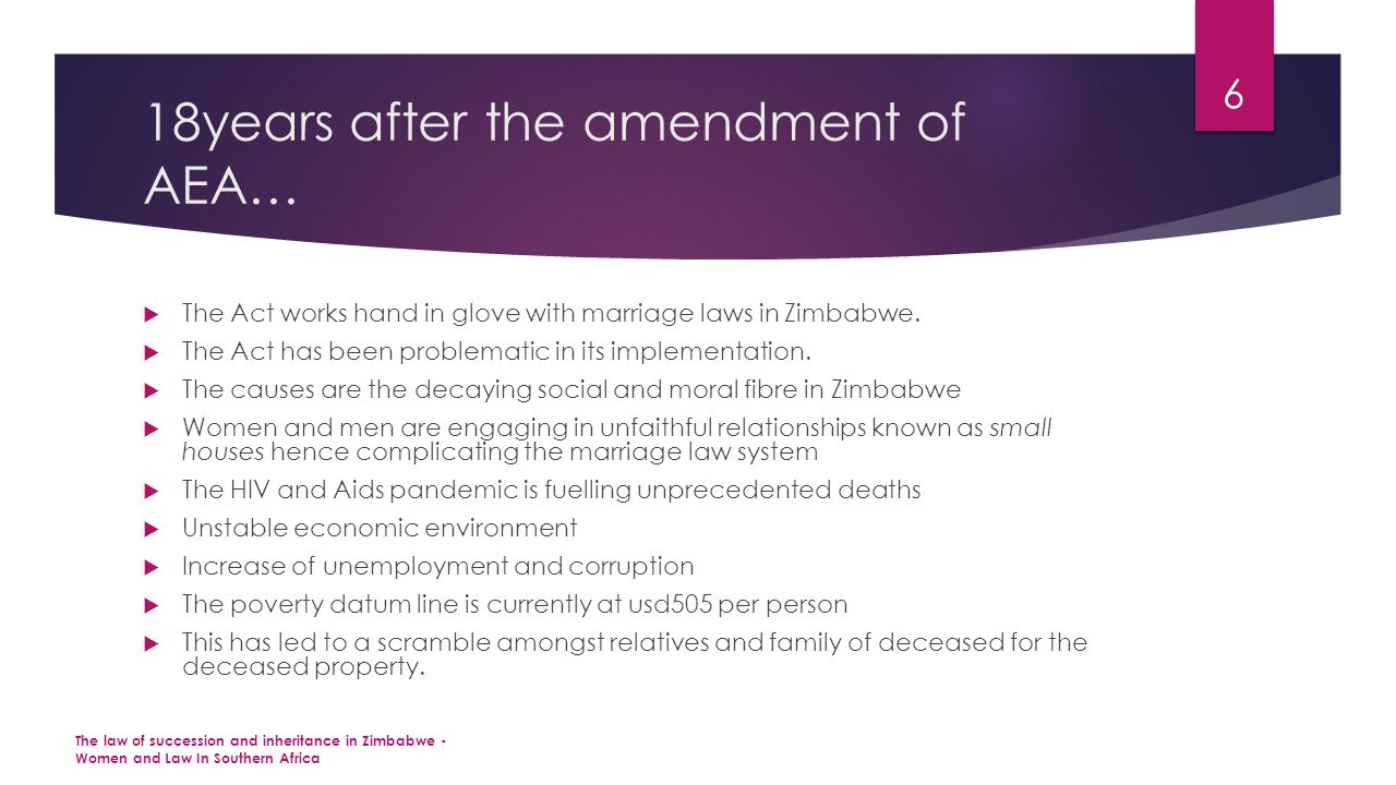 18years after the amendment of AEA…  The Act works hand in glove with marriage laws in Zimbabwe.