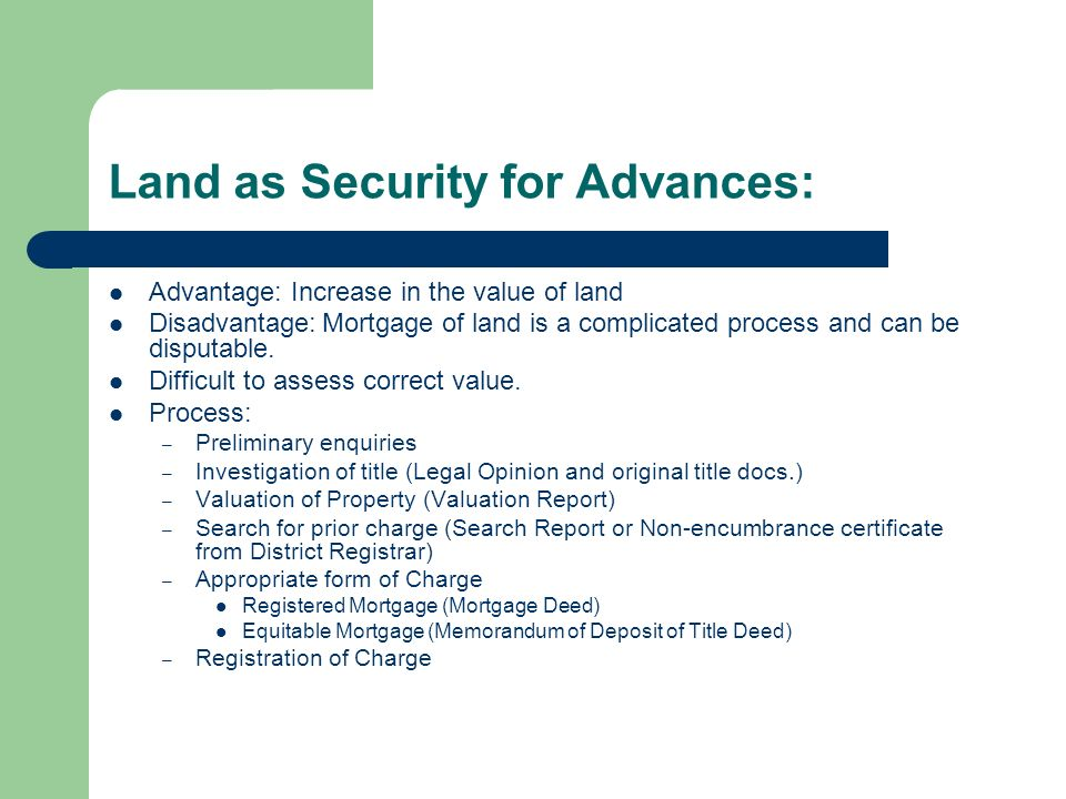 Securities For Advances. Types Of Advances With Respect To