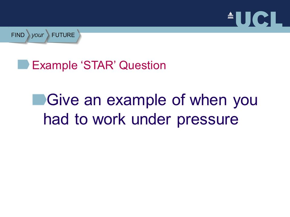 working under pressure examples