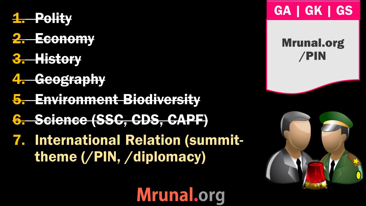 GA | GK | GS 1.Polity 2.Economy 3.History 4.Geography 5.Environment Biodiversity 6.Science (SSC, CDS, CAPF) 7.International Relation (summit- theme (/PIN, /diplomacy) Mrunal.org /PIN